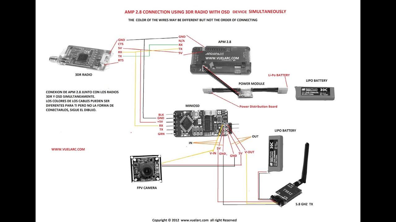 hight resolution of instalacion del minimosd y 3r radios con apm simultaneamente