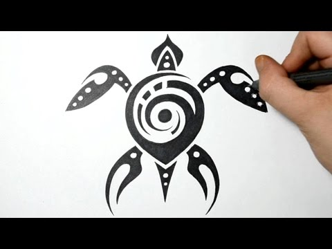 How to Draw Sea Turtle - Tribal Tattoo Design - Real Time