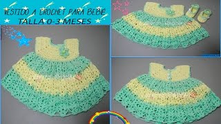 Repeat youtube video VESTIDO A CROCHET PARA BEBÉ TALLA 0-3 MESES