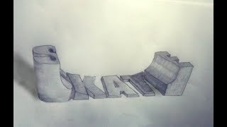 How To Draw 3D SKATE Word On Paper