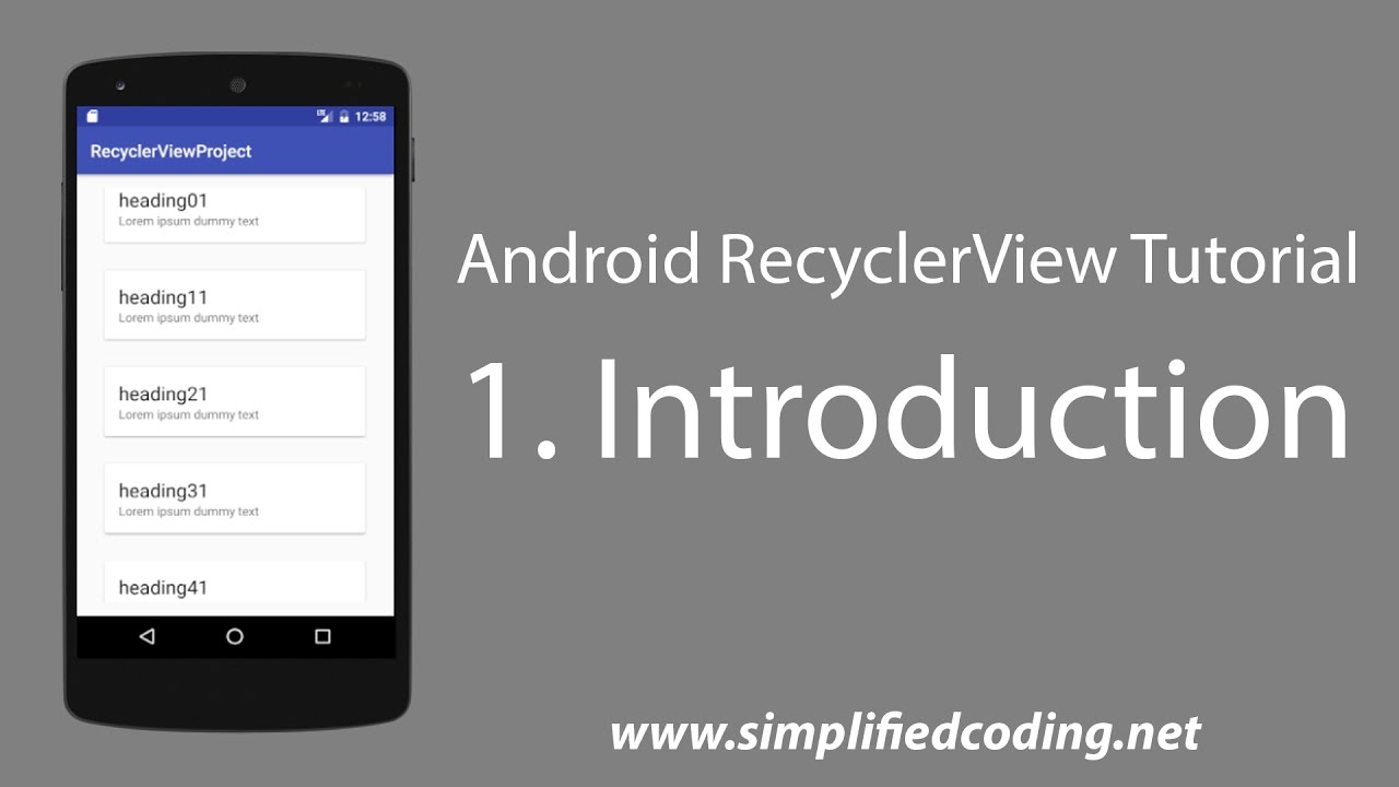 1  Android RecyclerView Tutorial - Introduction