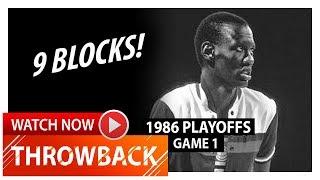 Throwback: Manute Bol Game 1 Highlights vs 76ers (1986 Playoffs) - 4 Pts, 9 Blocks!