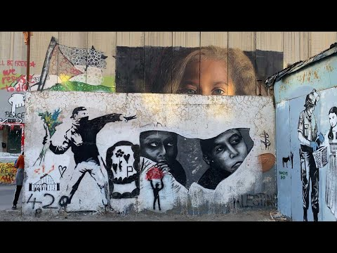 West Bank Palestine Barrier Separation Wall Graffiti, Including Some Works By Banksy