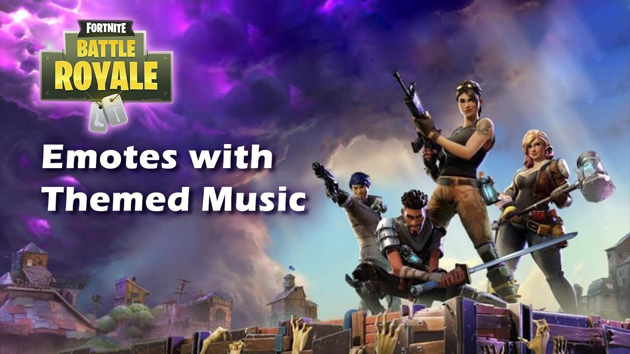 fortnite all emotes with theme background music - fortnite background music