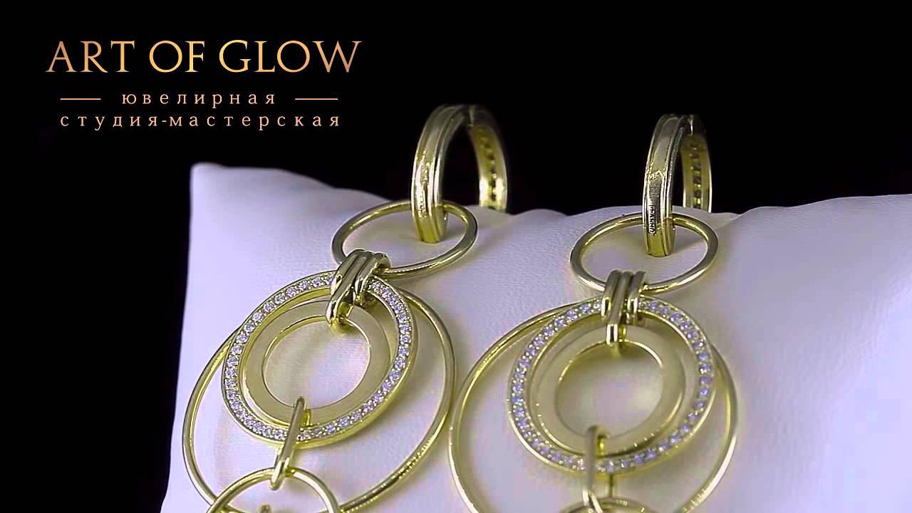 Золотые серьги-пусеты с бриллиантами 1.02 карат - YouTube