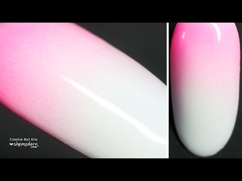 Nail art pink white gradient ombre design with gel polish. Easy how to tutorial