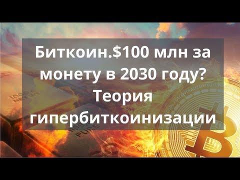 Биткоин.$100 млн за монету в 2030 году? Теория гипербиткоинизации. Курс биткоина прогноз