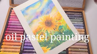 오일파스텔 해바라기그리기 oil pastel paint…