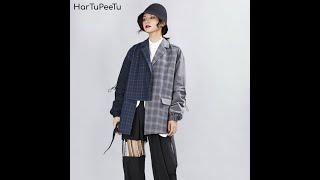 Женский блейзер оверсайз с длинным рукавом винтажное пальто в стиле пэчворк разрезом на спине