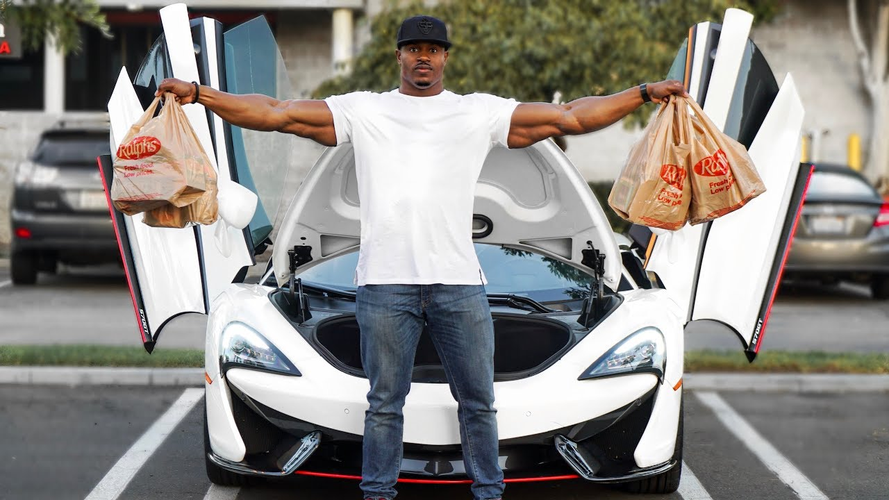 GROCERY SHOPPING IN A MCLAREN | HOW MUCH WILL FIT? WHAT I EAT