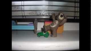 LITTLE CHARLEY BEAR SLIPS ON TOY CAR!!!
