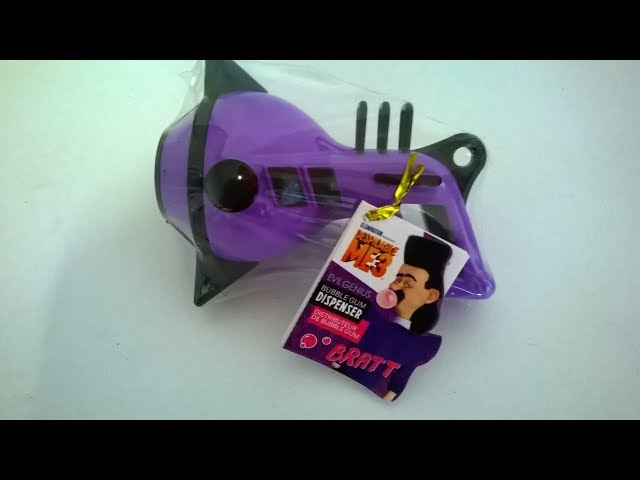 Despicable Me 3 evil genius strawberry bubble gum dispenser gun (Bratt)