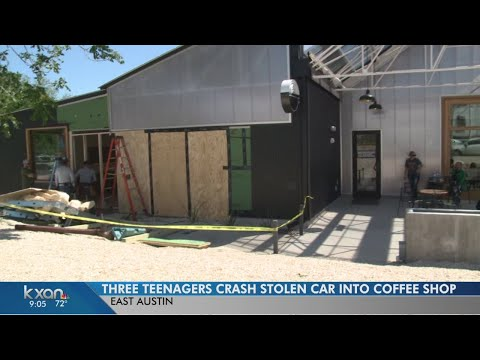 Teens in stolen truck crash into coffee shop during chase