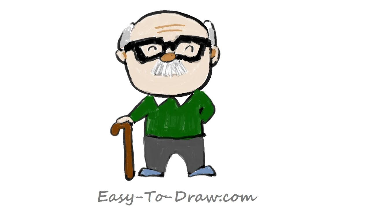How to draw a cartoon grandpa (grandfather) step by step ...