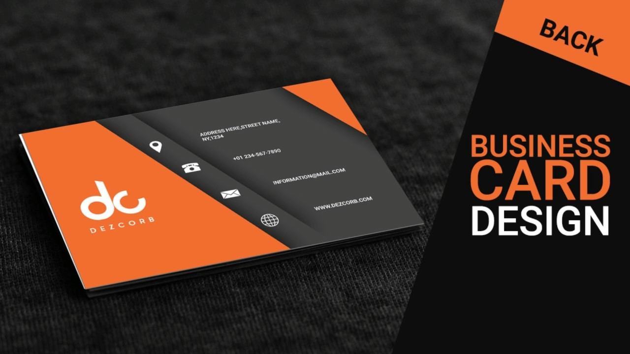 business card design in photoshop cs6 back orange gray youtube
