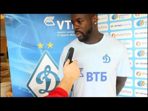 Dynamo Moscow's Christopher Samba jokes about Morten Gamst Pedersen's hair