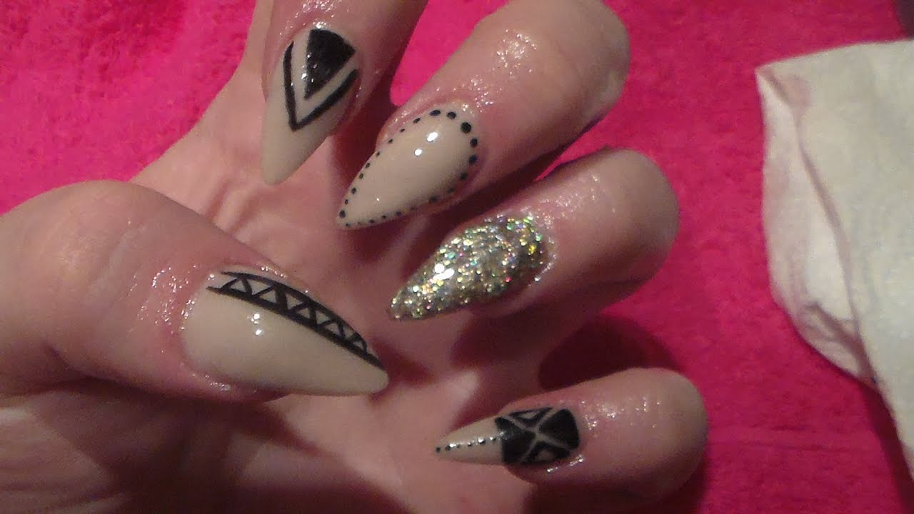 Nude Stiletto Acrylic Nails And Black Nail Art, HOW TO, ACRYLIC ...