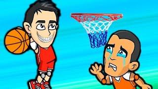 Игровой мультик для детей, играем в Баскетбол с большими головами! Game cartoon for kids!