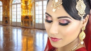 Red Indian Bridal Smokey Eye Makeup Tutorial-Traditional Asian Pakistani Wedding Reception Walima