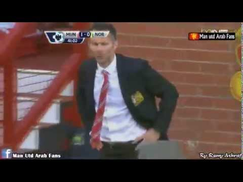 Ryan Giggs reaction after Wayne Rooney Goal ~ Manchester United vs Norwich City 1-0 26/04/2014