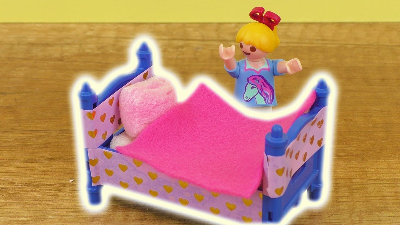 playmobil diy bett s es m dchen bett f r eure playmobil. Black Bedroom Furniture Sets. Home Design Ideas