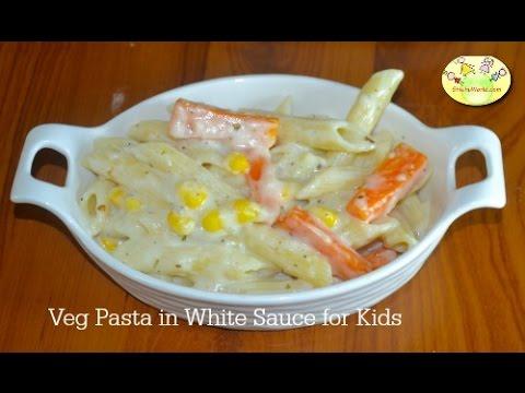Vegetable Pasta in White sauce - Breakfast/ Snack/ Lunchbox recipe for kids