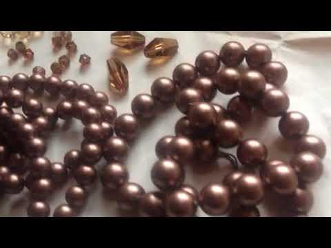 Swarovski Crystal Velvet Brown Pearls & Complimenting Crystal Colors