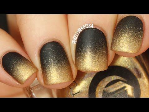 Black to Gold Gradient Nail Art Tutorial
