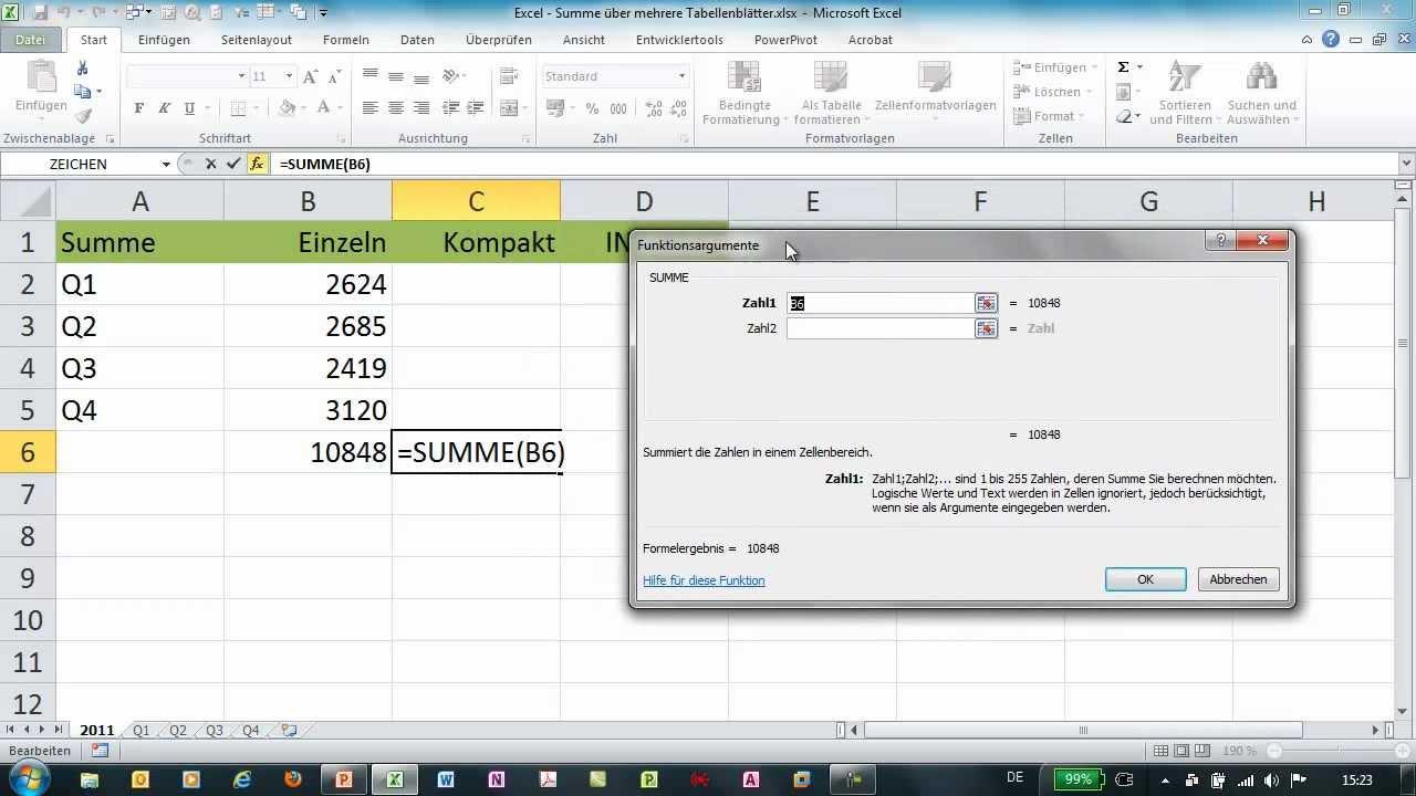 Excel - SUMME über mehrere Tabellenblätter - YouTube
