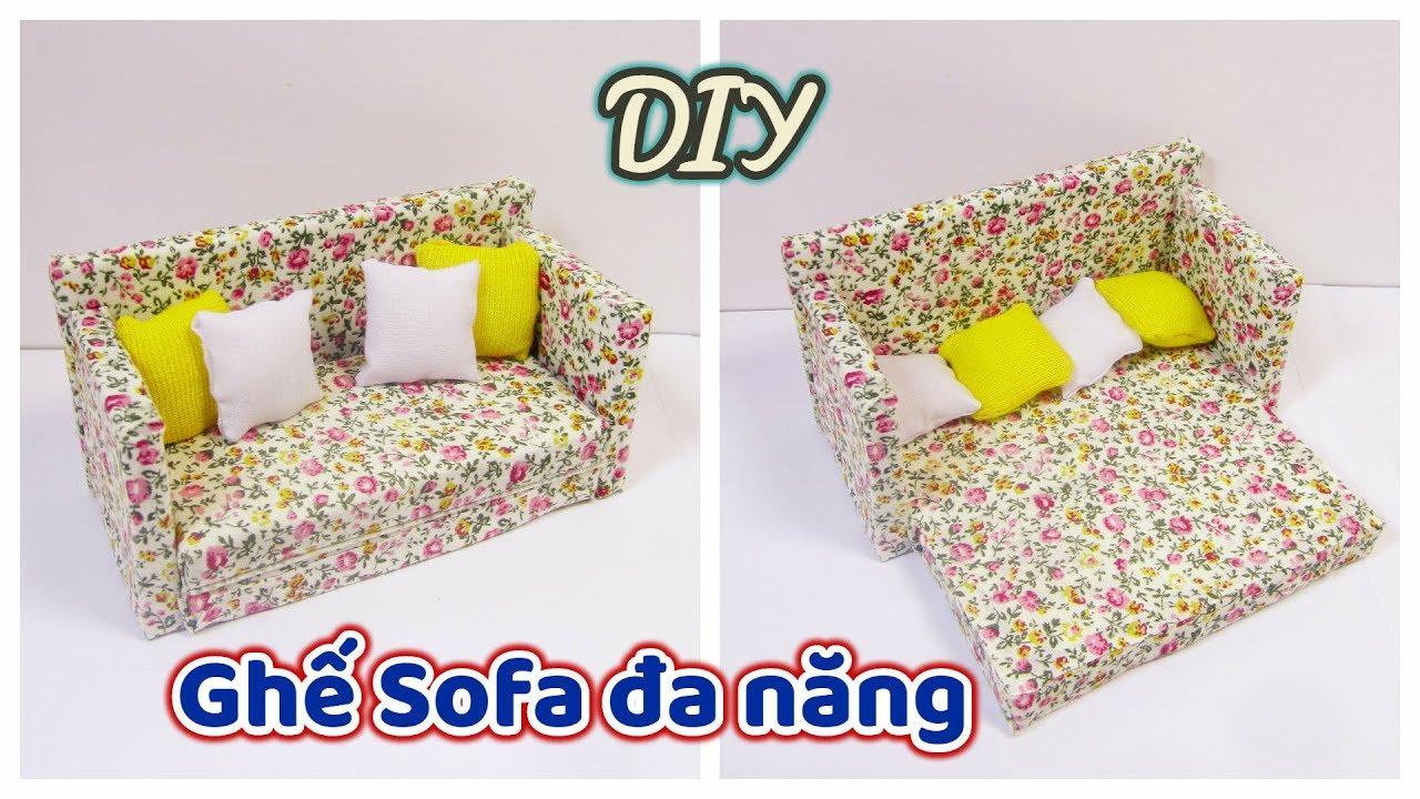 DIY How to make a miniature  Sofa Bed / Cách làm ghế Sofa đa năng thu nhỏ cho búp bê/ Ami DIY