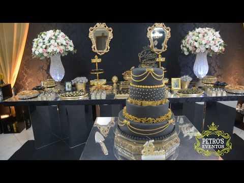 15 Anos Preto e Dourado - Decoração Espelhada - Petro´s Eventos - Camille