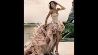Короткое вечернее платье со шлейфом