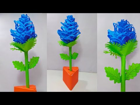 DIY- How to make Fluffy Flower Tree   Table top flower vase   Fluffy Flower   Paper Stick Flower