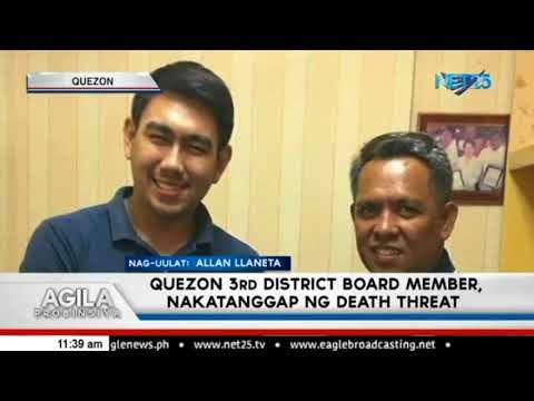 Quezon 3rd District Board Member, nakatanggap diumano ng death threat
