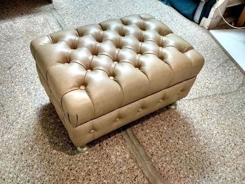 Пуфик - банкетка с каретной стяжкой . (капитоне). Мягкая мебель. (Рadded Stool. Chesterfield).