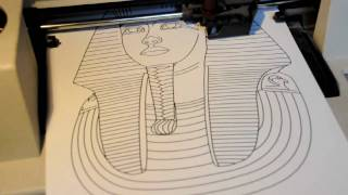 HP ColorPro pen plotter drawing the mask of Tutankhamun