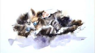 Картина акварелью. Котёнок.