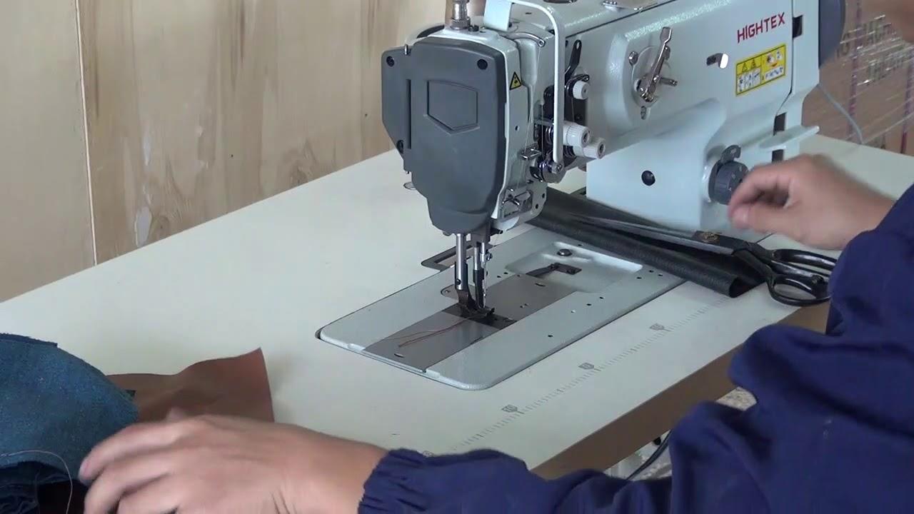 Máquina de coser triple arrastre para coser cuero o