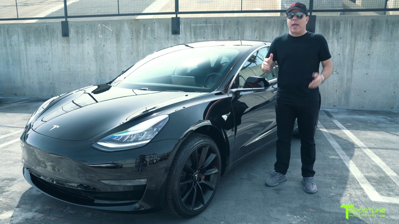 tesla model 3 customized with custom painted gold brake. Black Bedroom Furniture Sets. Home Design Ideas