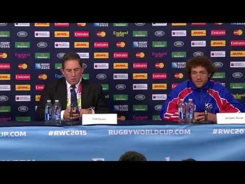 Post-game Interview Namibia vs. Georgia RWC2015: Phil Davies & Jacques Burger