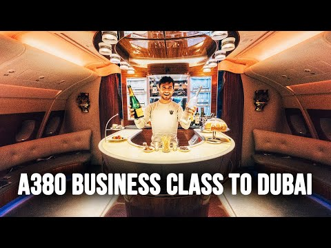 FLYING A380 EMIRATES BUSINESS CLASS & THIS IS THE BEST VIEW OF DUBAI