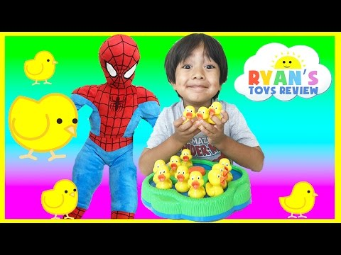 Lucky Duck Game Spiderman Family Fun Toy For Kids Egg Surprise Superman Disney Cars Thomas Trains