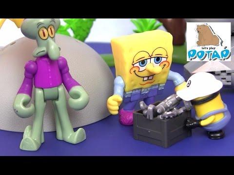 Видео для Детей! Spongebob Губка Боб Квадратные Штаны Bikini Bottom Playset Мультики для Детей