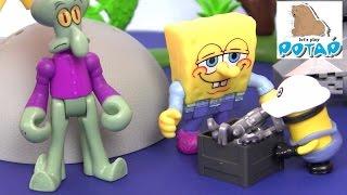 Видео для Детей! Spongebob Губка Боб Квадратные Штаны Bikini Bottom Playset Мультики. Дети Мини Бикини