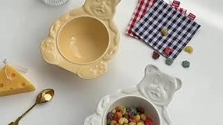 빈티지 곰돌이그릇 홈카페 플레이트 샐러드 요거트볼