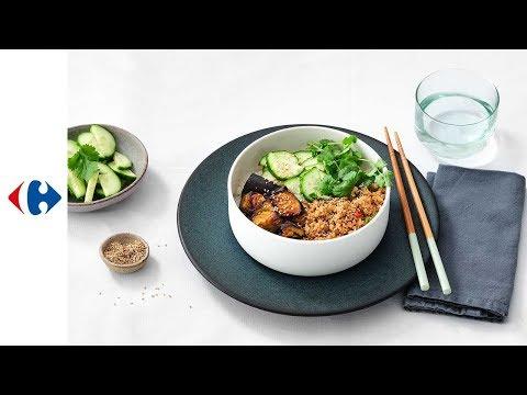 bol-de-riz,-aubergines-à-la-sauce-teriyaki,-concombres-marinés-et-haché-veggie