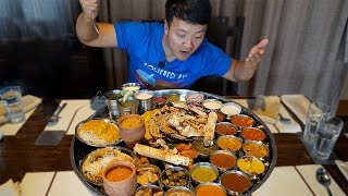 connectYoutube - MASSIVE Plate of INDIAN FOOD (Thali) Over 30 ITEMS!!!