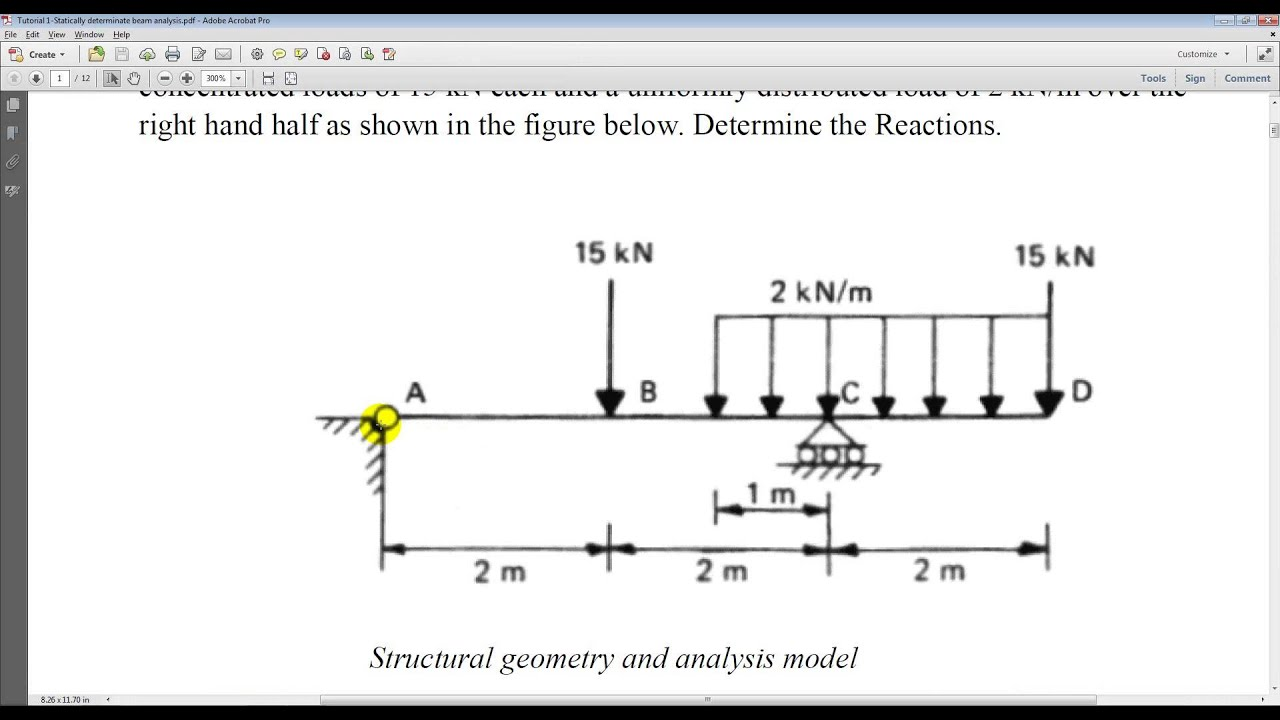 Tutorial 1 Civil Statically Determinate Beam Analysis Youtube Two Concentrated Loads Draw The Shear And Bending Moment Diagrams