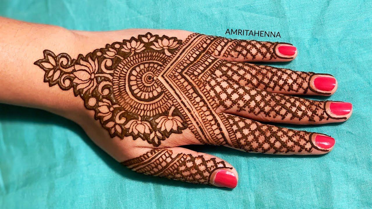 FLORAL LOTUS MEHNDI HENNA DESIGN FOR HANDS