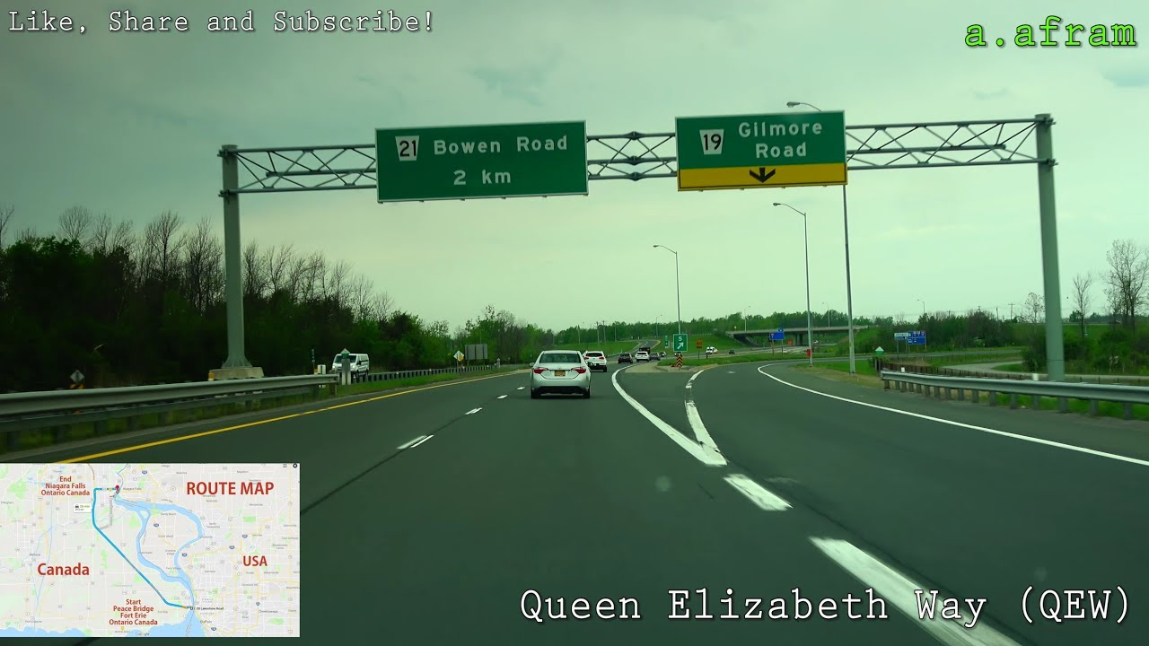 Driving on QEW from Fort Erie to Niagara Falls Ontario Canada 4K